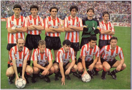 Formación 1990-91. De pie: Quique Setién, Nelson, Martín I., Herrero J.C., Canales, López Pérez. Agachados: Abadía, Aguilá, Moreno, Rosagro, Cristóbal.