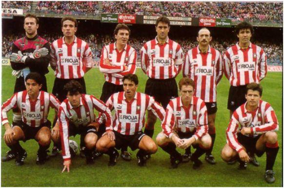 Formación 1992-93. De pie: Lopetegui, Villanova, Uribarrena, Herrero J.C., Abadía, Antón.  Agachados: Iturrino, Moreno, Dulce, Eraña, Salenko.