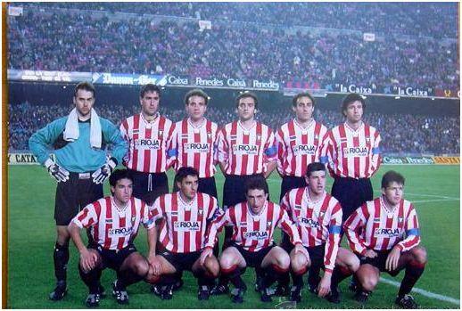 Formación 1993-94. De pie: Lopetegui, Herrero J.C., Villanova, Martín I., Poyatos, Antón. Agachados: Iturrino, Dulce, Eraña, Romero, Salenko.