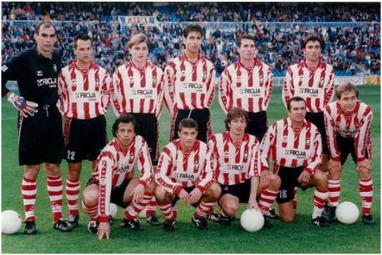 Formación 1996-97: De pie: Cedrún, Uriz, Markovic, Clotet, Kientz, Dulce. Agachados: Baltierra, Morales, Estéfano, Rubén Sosa, Tejera.