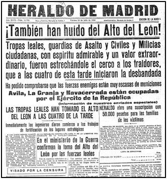 Suñol confundió con la realidad el alarde propagandístico inserto en medios republicanos. El alto del León seguía en poder de los sublevados y este hecho le segaría la vida.