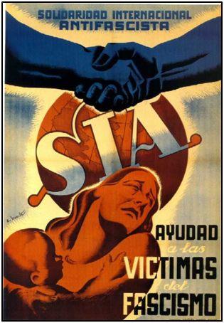 Cartel antifascista, dirigido a la captación de fondos en el exterior.
