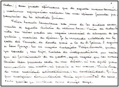 Fragmento de las memorias que José María Gayarre escribiese durante los años 50, a día de hoy inéditas.