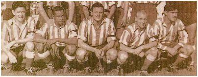 Delantera cristal: Juncosa, Ben Barek, Pérez-Payá, Carlsson y Escudero.
