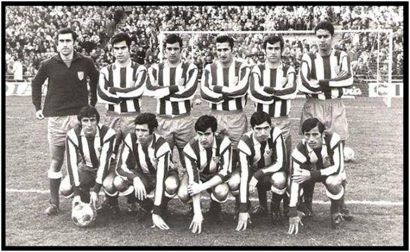 Formación 1969-70. De pie: Rodri, Melo, Martínez Jayo, Calleja, Adelardo, Eusebio. Agachados: Ufarte, Luis, Gárate, Alberto, Juan Antonio.