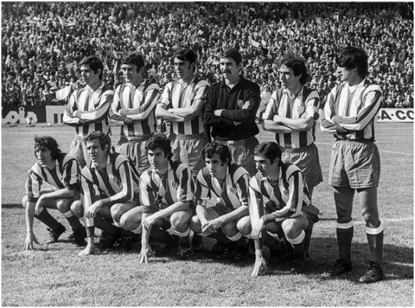 Formación 1972-73: De pie: Melo, Iglesias, Quique V., Pacheco, Adelardo, Benegas. Agachados: Ufarte, Luis, Gárate, Irureta, Alberto.