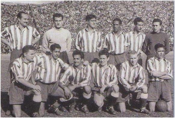 Formación 1949-50: De pie: Riera, Domingo, Escudero, Ben Barek, Múgica, Pérez Zabala. Agachados: Mencía, Hernández, Silva, Juncosa, Carlsson, Farias.