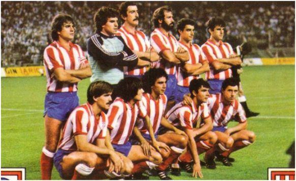 Formación 1982-83. De Pie: Marcelino, Mejías, Arteche, Juanjo, Quique Ramos, Landáburu. Agachados: Votava, Pedraza, Hugo Sánchez, Julio Prieto, Rubio.