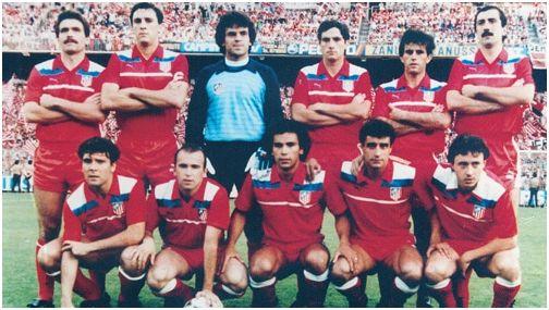 Formación Campeón Copa del Rey 1984/85: De pie: Votava, Ruiz, Mejías, Clemente, Landáburu, Arteche. Agachados: Julio Prieto, Marina, Hugo Sánchez, Quique, Rubio.