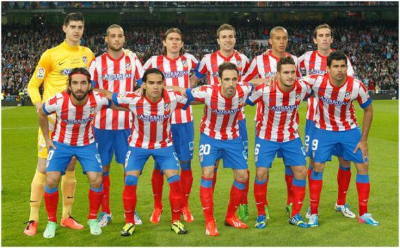 Formación Campeón de Copa del Rey 2012/13: De pie: Courtois, Mario Suárez, Filipe, Gabi, Miranda, Godín. Agachados: Turan, Falcao, Juanfran, Koke, Diego Costa.