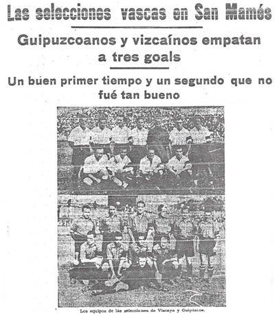 Resultado y alineaciones de las selecciones de Vizcaya y Guipúzcoa (La Gaceta del Norte, 22-09-36). En la fotografía puede apreciarse como los jugadores de ambas selecciones saltaron al terreno de juego portando una franja negra en señal de duelo por la muerte del excelente jugador irundarra Leopoldo Linazasoro, que perdió la vida en Irún en acto de servicio el día 2 de septiembre de 1936 en defensa de la República.