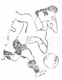 Caricatura de Isidro Lángara, el delantero centro internacional que debutó el 27 de diciembre de 1936 en las filas rojiblancas (Tierra Vasca, 29-12-36).