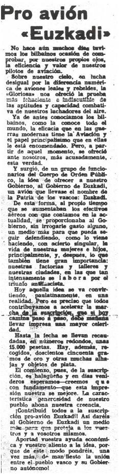 Artículo publicado en La Gaceta del Norte el 22 de enero de 1937 en el que se anima a la población a contribuir a la suscripción pro avión Euzkadi.
