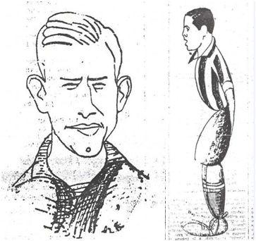 Así vio el caricaturista a Cilaurren (PNV) a modo de busto e Iraragorri, de cuerpo entero (ANV), jugadores, respectivamente, de los equipos contendientes (El Nervión, 08-02-37).