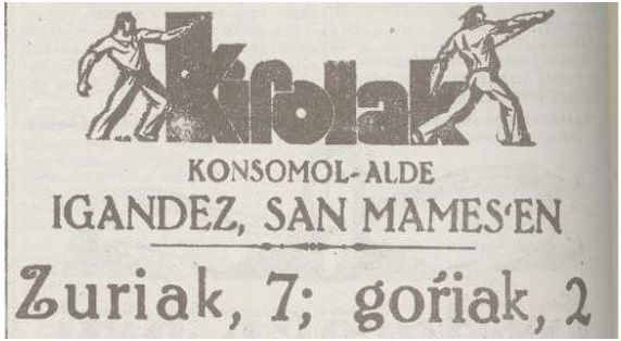Deportes/Pro Konsomol/El domingo en San Mamés: Blancos, 7; Rojos, 2 (N. del T.). Eguna (06-04-37)