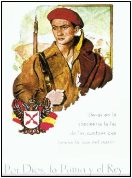 Propaganda carlista, con su lema de cabecera. La contribución navarra a las brigadas requetés fue amplísima.