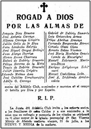 Esquela del Athletic Club inserta en la prensa bilbaína, como tributo a parte de sus socios caídos o asesinados.