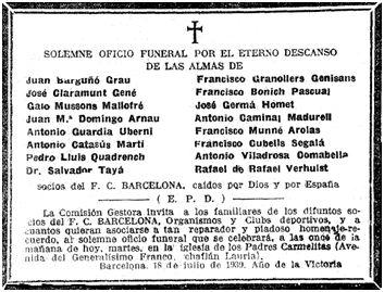 """Esquela que el F. C. Barcelona dedicó el 18 de julio de 1939 a sus socios, caídos o asesinados """"Por Dios y por España"""". En la notificación facilitada a la F.E.F olvidó incluir a Francisco Cubells Segalá."""