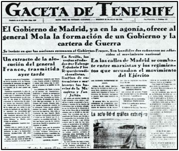 """Seis días después de producirse el alzamiento militar, la """"Gaceta de Tenerife"""" dio por hecha la victoria """"nacional"""", sin apenas entrar en batalla."""