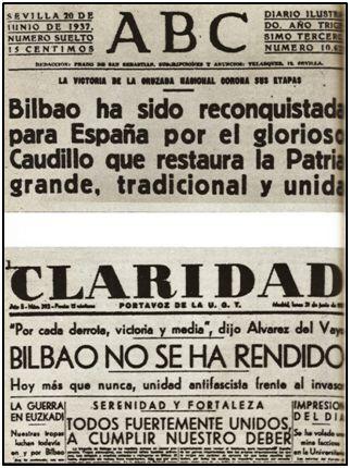 """La caída de Bilbao también fue objeto de manipulación. Mientras """"ABC"""" de Sevilla daba cuenta puntual de aquella capitulación, el órgano portavoz de U.G.T. se empeñaba en desdecirla 24 horas después."""