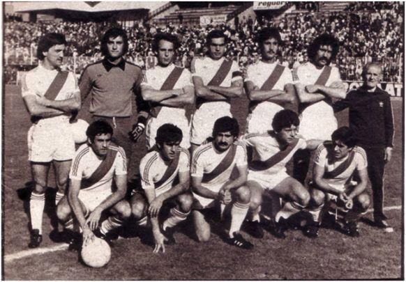 Formación 1977-78: De pie: Fermín, Alcázar A., Anero, Uceda, Nieto L., Tanco.  Agachados: Francisco, Landáburu, Salazar, Alvarito, Rial.