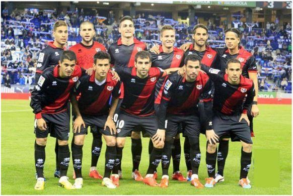 Formación 2013-14. De pie: Rochina, Rubén, Borja López, Saúl, Larrivey, Zé Castro.  Agachados: Iago Falqué, Bueno, Trashorras, Arbilla, Nacho.