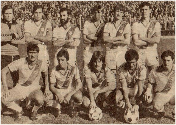 Formación 1980-81. De pie: Mora, Uceda, Izquierdo, García Jiménez, Robles, Fraile. Agachados: Díez, Mate, Juan, Rocamora, Marián.