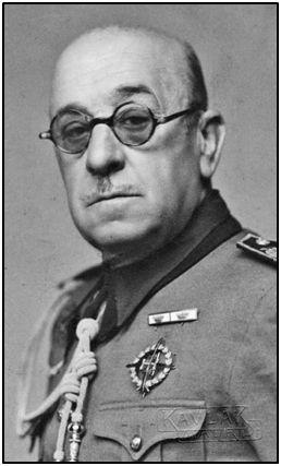El general Moscardó, presidente del Comité Olímpico Español, máxima autoridad deportiva tras la Guerra Civil.