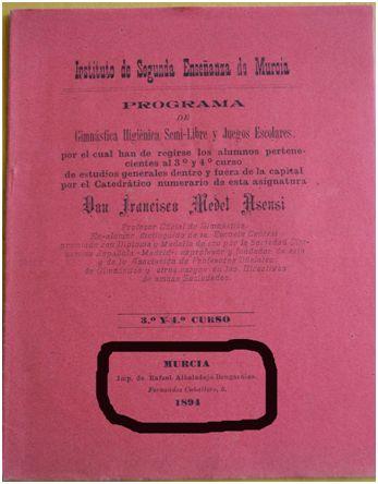 """Primera página del programa de """"gimnástica higiénica"""" de los cursos tercero y cuarto de bachillerato correspondiente al curso 1894-1895"""