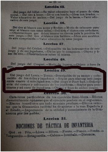 En la lección 49 del programa se aprecia que Francisco Medel tenía previsto explicar a sus alumnos el reglamento y las nociones básicas del fútbol durante el curso escolar