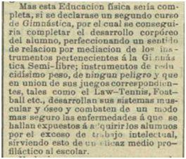 Artículo publicado por Francisco Medel en el diario Las Provincias de Levante el 10 de septiembre de 1894, en el que defiende los beneficios de la práctica del fútbol