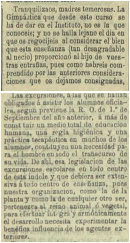 Entre septiembre y octubre de 1894 Francisco Medel utilizó el diario Las Provincias de Levante para dar explicaciones sobre los beneficios de su asignatura