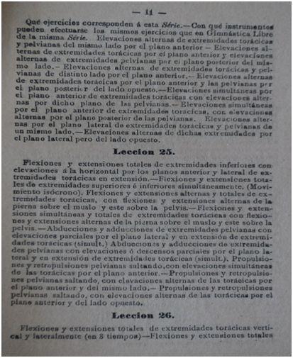 En este documento se refleja el contenido de algunas de las 64 lecciones del programa de Gimnástica Higiénica elaborado por Francisco Medel para tercero y cuarto de Bachillerato