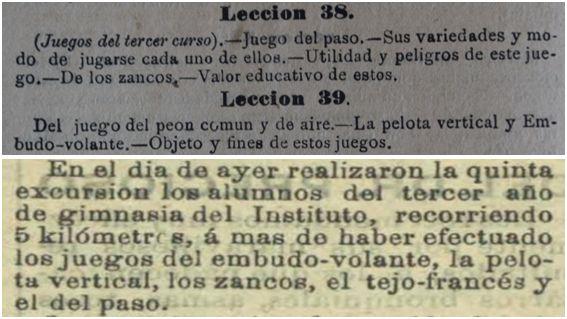 Noticia publicada el 19 de enero de 1895 en Las Provincias de Levante (imagen de abajo), en la que se demuestra que Medel cumplía el programa de la asignatura (imagen de arriba)