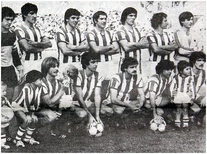 Formación 1980-81: Arriba: Arconada, Gajate, Celayeta, Perico Alonso, Kortabarria, Olaizola. Agachados: Idígoras, Diego, Satrústegui, López Ufarte, Zamora.