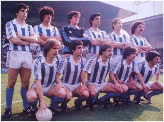 Formación 1979-80. Arriba: Celayeta, Gajate, Arconada, Kortabarria, Perico Alonso, Olaizola. Agachados: Idígoras, Diego, Satrústegui, Zamora, Gaztelu.