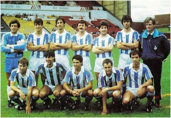 Partido en Glasgow partido amistoso de temporada Formación 1987-88. Arriba: Arconada, Zúñiga, Górriz, Larrañaga, Santi Bakero, Dadie. Agachados: Uría, Loren, Iturrino, Mujika,