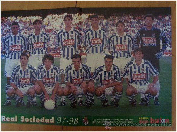 Formación 1997-98. Arriba: Juan Gómez, Loren, Rubén Vega, Imanol, Kühbauer, Alberto. Agachados: López Rekarte, Idiakez, De Pedro, Pikabea, Imaz.