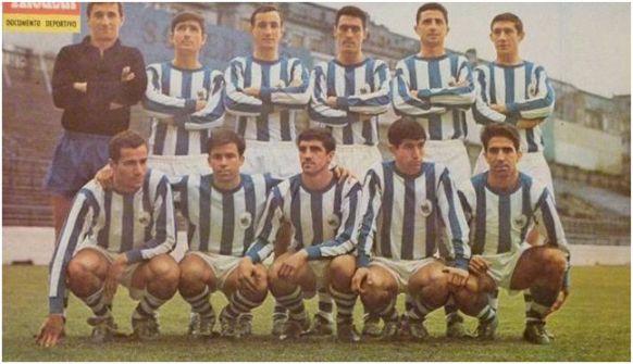 Formación 1966-67. De pie: Zubiarrain, Gorriti, Martinez, Ormaechea, Arza, Lema. Agachados: Boronat, Urreisti, Arregui, Mendiluce, Cabo.