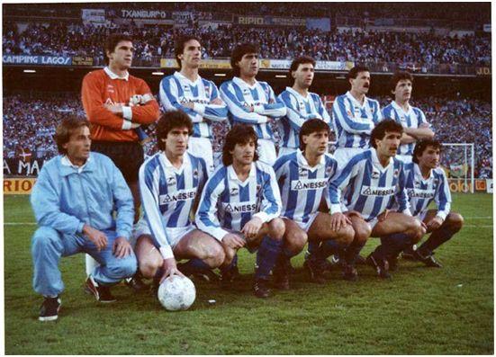 Formación Subcampeón Copa del Rey 1987-88. Arriba: Arconada, Górriz, Gajate,  López Rekarte, Larrañaga, Santi Bakero. Agachados: Zúñiga, Bakero, Loren, Zamora, Begiristain.