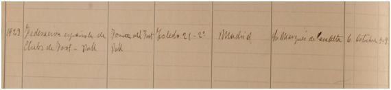 Inscripción de la RFECF en el Libro de Asociaciones de Madrid, página izquierda (Archivo CIHEFE)