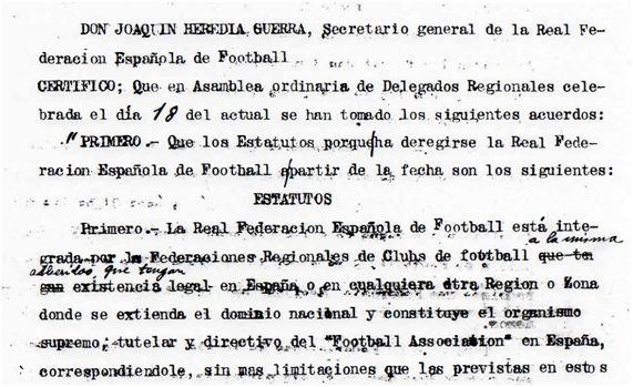 Estatutos de la RFEF de 1921 (Archivo CIHEFE)