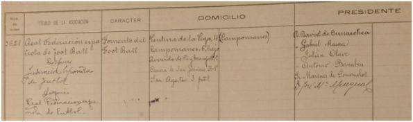 Inscripción de la RFEF en el Libro de Asociaciones de Madrid, página izquierda (Archivo CIHEFE)