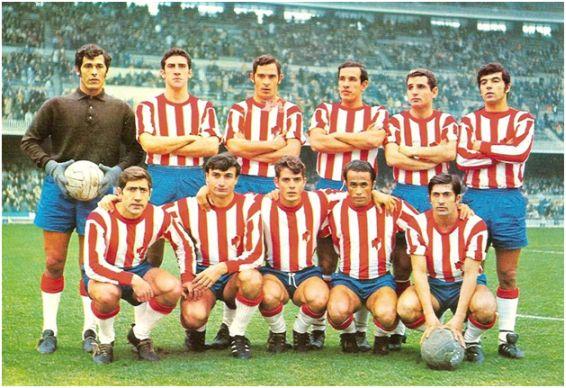 Formación 1969-70: Arriba: Ñito, Martos, Barrenechea, Fernández, Santos, Pazos. Agachados: Machicha, José, Barrios, Vicente G., Hidalgo.
