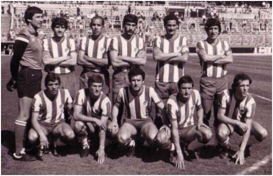 Formación 1980-81. De pie: Izcoa, Blanco Navarro, Santi, Lina, Angulo, Fali. Agachados: Jorgoso, Alete, Planas, Antonio, Lozano.