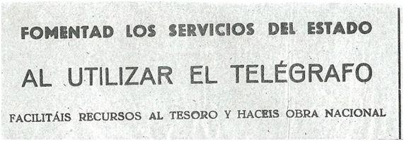 [Telegrama 1: Mensaje común a los telegramas emitidos desde la Zona nacional. ¡Cualquier medio era bienvenido para incrementar la suscripción de fondos con destino al Tesoro Nacional del Gobierno de Burgos! Fuente:  http://saltataulells.com/fuentes-primarias/cesion-de-las-copas-y-trofeos-del-athletic-club-al-gobierno-de-burgos/]