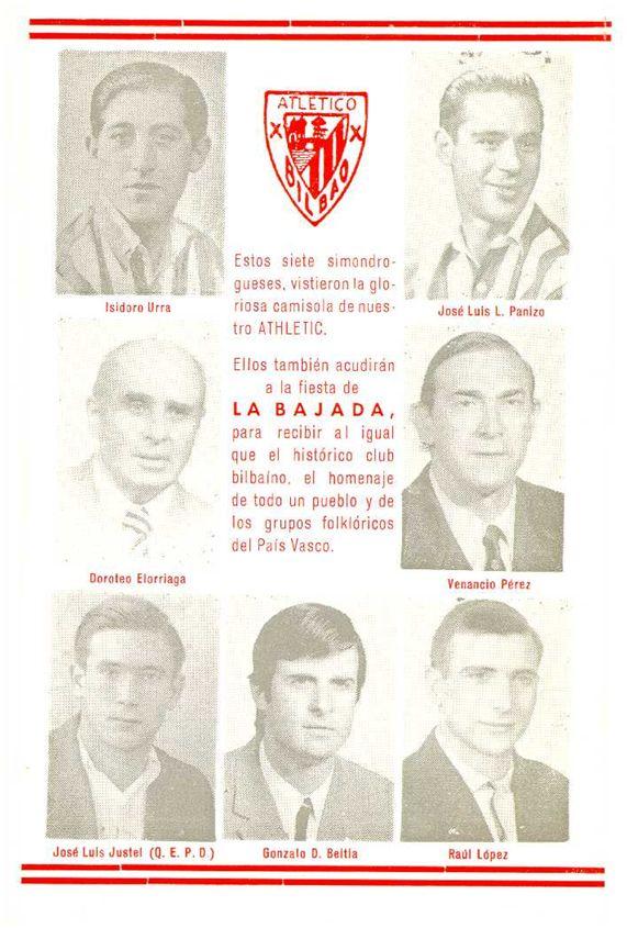 [Carteles informativos de las fiestas del barrio de Simondrogas (VII Bajada) en homenaje al Athletic Club en sus bodas de brillante]
