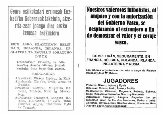Diario Eguna, 18-02-1937. [Texto en euskera a la izquierda y, a la derecha, su traducción en lengua española realizada por el autor del presente trabajo]