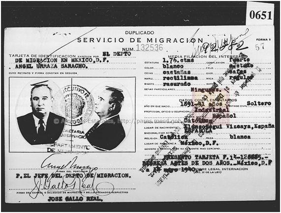 Ángel Urraza Saracho. Fuente: Registro Nacional de extranjeros en México. Archivo General de la Nación de México. © Ministerio de Cultura y Deporte (en la actualidad Ministerio de Educación, Cultura, Deportes, Ciencia y Tecnología).