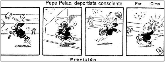 Acertada visión de arbitraje en categorías modestas, a finales de los 40, según el dibujante bilbaíno Luis del Olmo.